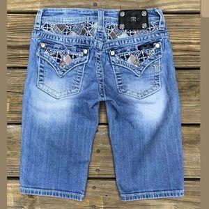 Miss me girls 14 Bermuda jean shorts jeweled Flap